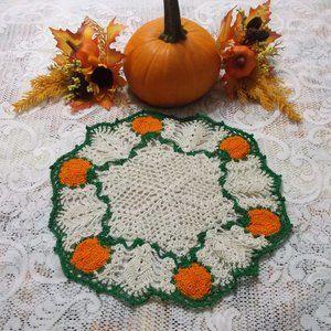 "Handmade Crocheted Fall Doily - 11"""